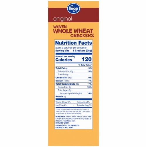 Kroger® Original Woven Whole Wheat Crackers Perspective: right
