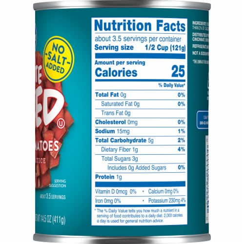 Kroger® No Salt Added Petite Diced Peeled Tomatoes in Tomato Juice Perspective: right