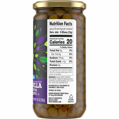Kroger® Gluten Free Reduced Sodium Manzanilla Olives Stuffed With Pimiento Perspective: right