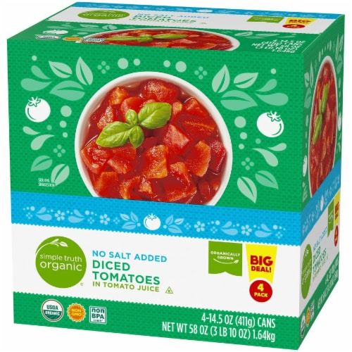 Simple Truth Organic® No Salt Added Diced Tomatoes 4 Count Perspective: right