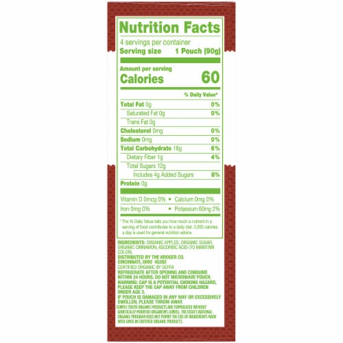 Simple Truth Organic® Cinnamon Applesauce Pouches Perspective: right