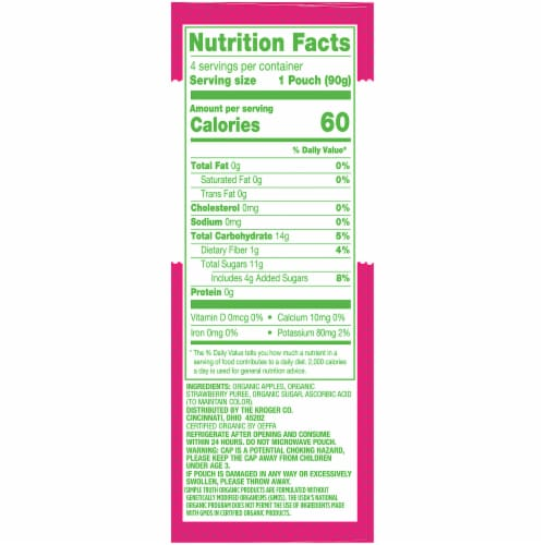 Simple Truth Organic® Strawberry Applesauce Pouches 4 Count Perspective: right