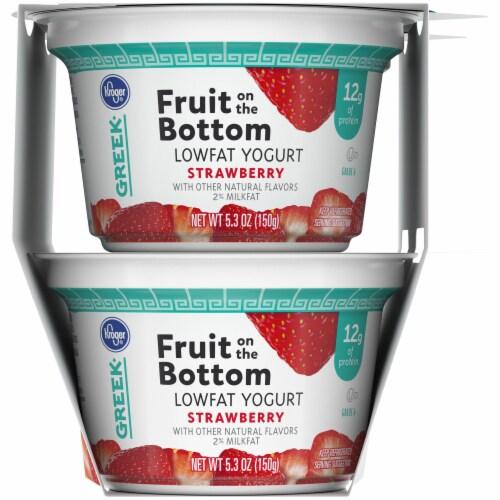 Kroger® Strawberry Fruit on the Bottom Greek Lowfat Yogurt Cups Perspective: right