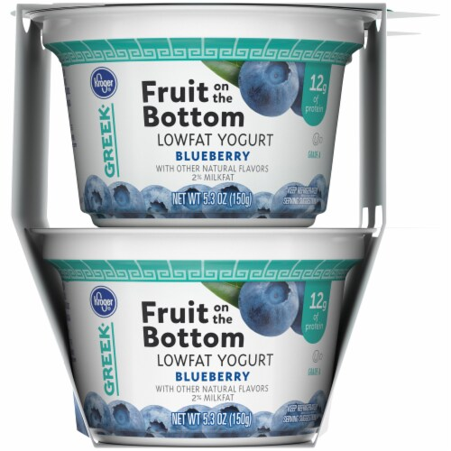 Kroger® Blueberry Fruit on the Bottom Greek Lowfat Yogurt Cups Perspective: right