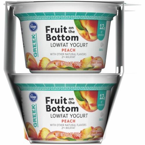Kroger® Fruit on the Bottom Peach Greek Lowfat Yogurt Cups Perspective: right