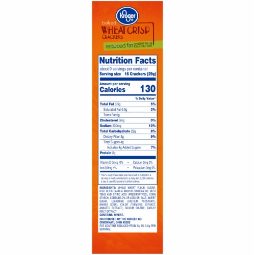 Kroger® Reduced Fat Baked Wheat Crisp Crackers Perspective: right