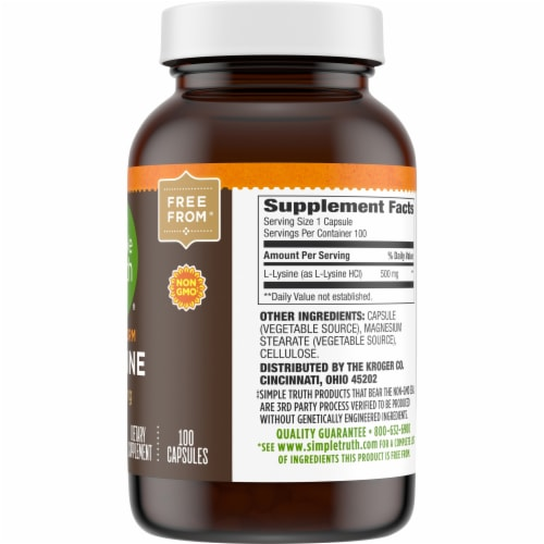 Simple Truth® L-Lysine Capsules 500mg Perspective: right