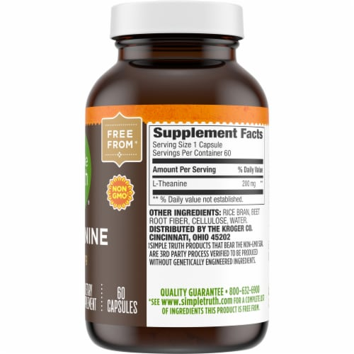 Simple Truth® L-Theanine Capsules 200mg Perspective: right
