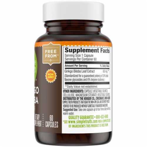 Simple Truth® Ginkgo Biloba Capsules 60mg Perspective: right