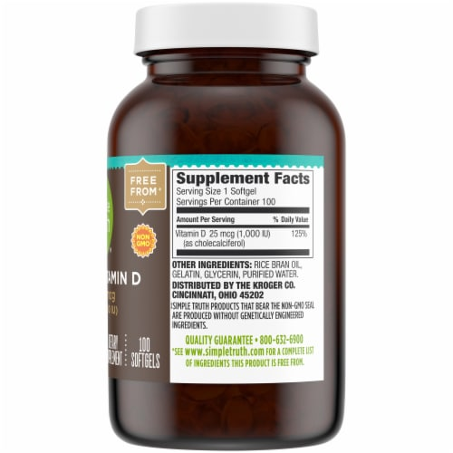 Simple Truth® Vitamin D3 Softgels 1000 IU Perspective: right