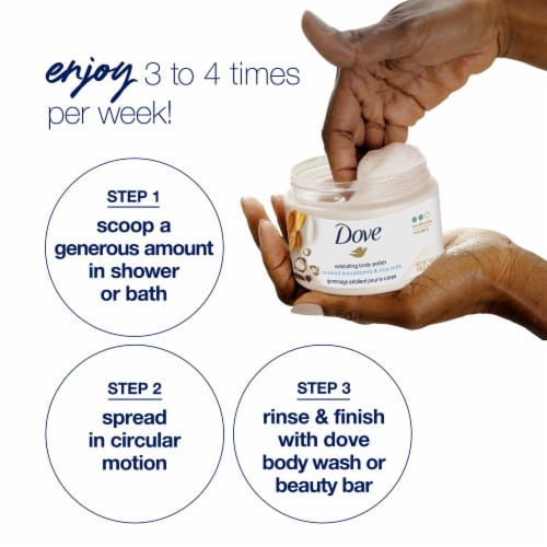 Dove Crushed Macadamia & Rice Milk Exfoliating Body Polish Perspective: right