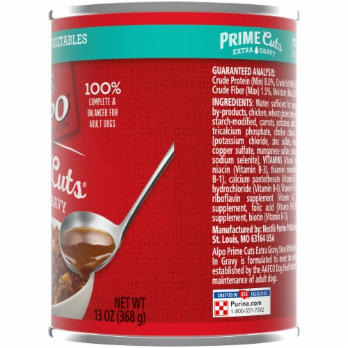 Purina Alpo Prime Cuts Stew with Beef & Vegetables in Gravy Wet Dog Food Perspective: right