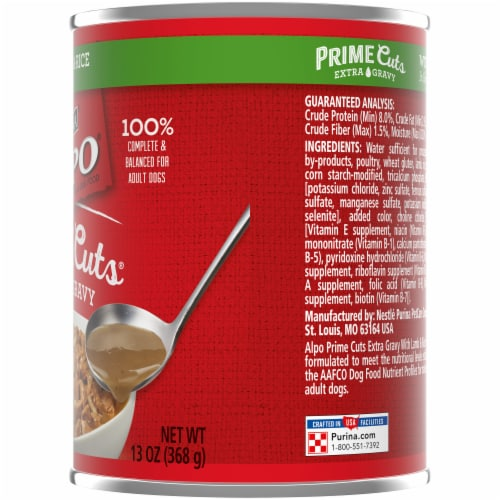 Purina Alpo Prime Cuts Lamb & Rice in Gravy Wet Dog Food Perspective: right
