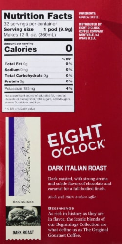 Eight O'Clock Dark Italian Roast K-Cup Coffee Pods 32 Count Perspective: right