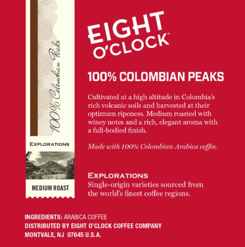 Eight O'Clock 100% Colombian Peaks Medium Roast K-Cup Pods Perspective: right