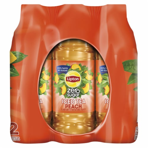 Lipton Diet Peach Iced Tea 12 Count Bottles Perspective: right
