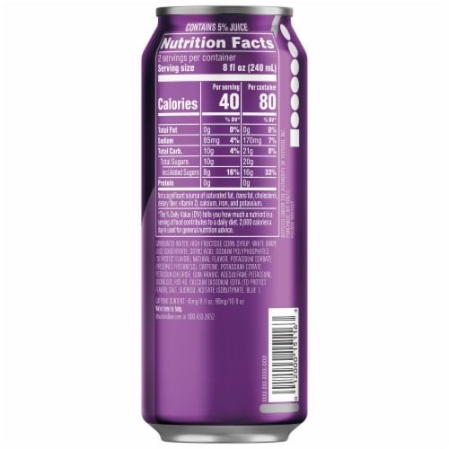 Mountain Dew Kickstart Midnight Grape Energy Drink Can Perspective: right