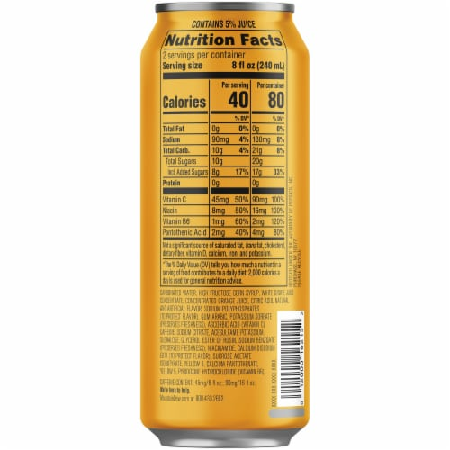 Mountain Dew Kickstart Mango Lime Energy Drink Can Perspective: right