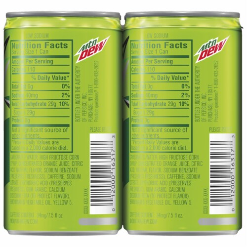 Mountain Dew Soda Mini Cans Perspective: right