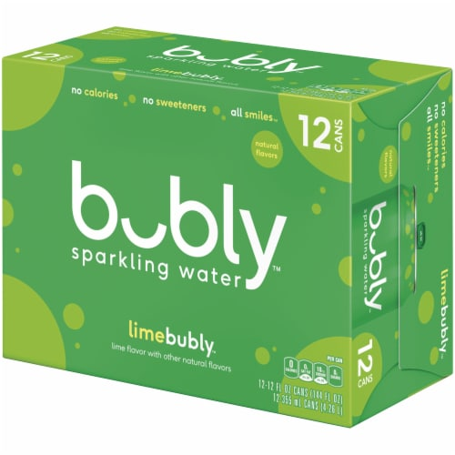 bubly Sparkling Water Lime 12 oz 12 Pack Perspective: right