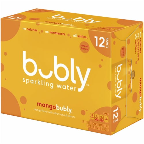 bubly Sparkling Water Mango 12 oz 12 Pack Perspective: right