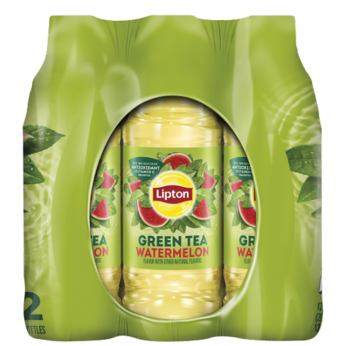 Lipton Watermelon Iced Green Tea 12 Count Bottles Perspective: right