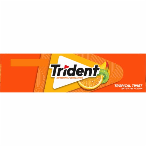 Trident Tropical Twist Sugar Free Gum (12 Pack) Perspective: right