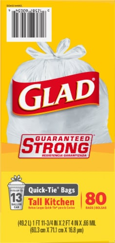 Glad Tall Quick-Tie Kitchen Trash Bags 80 Count Perspective: right
