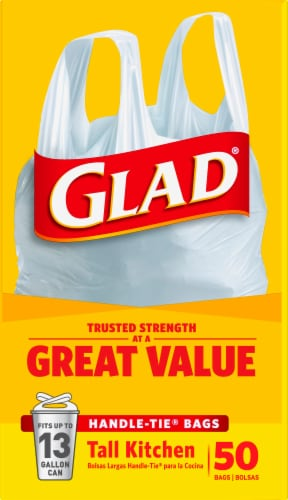 Glad Tall Handle-Tie 13 Gallon Kitchen Bags Perspective: right