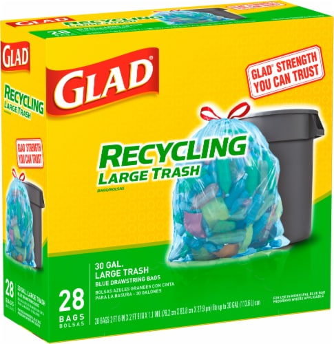 Glad Blue Recycling Large Trash Bags Perspective: right