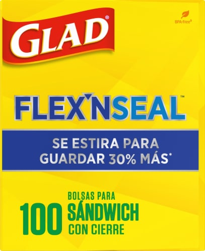 Glad Flex 'N Seal Sandwich Zipper Food Storage Bags Perspective: right