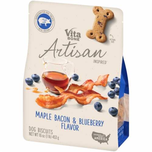 Vita Bone Artisan Inspired Maple Bacon & Blueberry Flavor Dog Biscuits Perspective: right