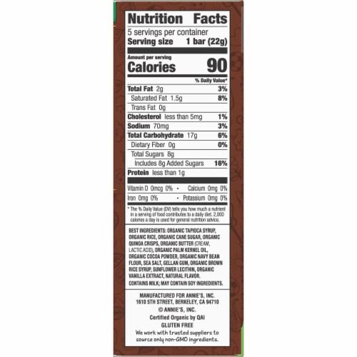 Annie's Organic Cocoa Crispy Snack Bars Perspective: right