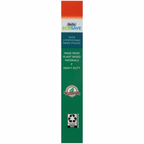 Hefty EcoSave™ Compostable Paper Straws - 7 1/4 in x 1/4 in Perspective: right