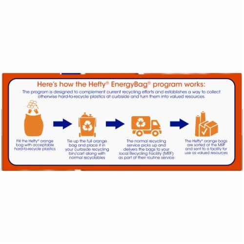 Hefty Energy Bag Program 8 Gallon Orange Flap Tie Bags Perspective: right