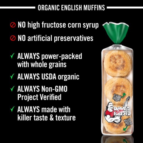 Dave's Killer Bread Organic Rockin' Grains English Muffins 6 Count Perspective: right