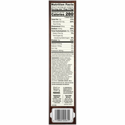 Stouffer's Family Size Italian Sausage Pasta Frozen Meal Perspective: right