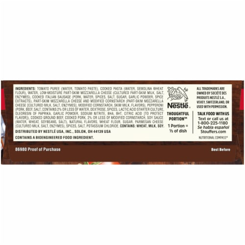 Stouffer's Meat Lovers Lasagna Large Size Frozen Meal Perspective: right