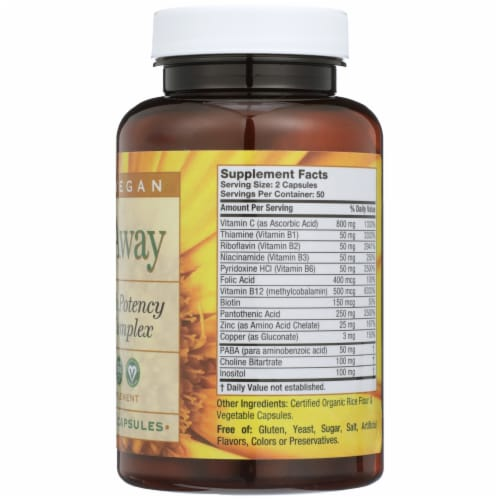 Pure Vegan Stress Away High Potency B-Complex Vegetarian Capsules Perspective: right