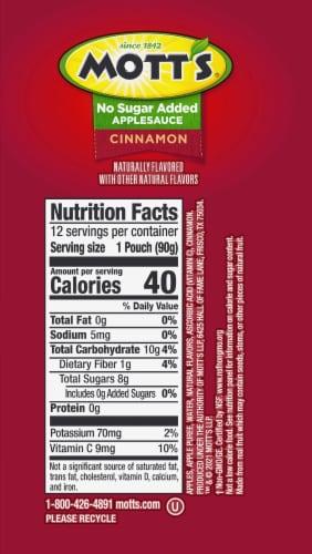 Mott's No Sugar Added Cinnamon Applesauce Perspective: right