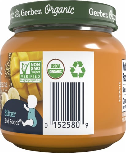 Gerber 2nd Foods Organic Carrot Banana Mango Stage 2 Baby Food Perspective: right