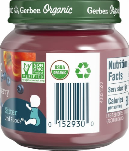 Gerber Organic 2nd Foods Apple Wild Blueberry Baby Food Perspective: right