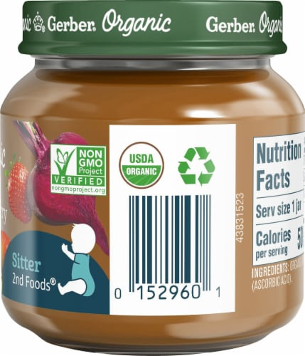 Gerber Organic Apple Strawberry Beet Stage 2 Baby Food Perspective: right