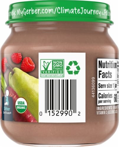 Gerber Organic 2nd Foods Pear Purple Carrot Raspberry Baby Food Perspective: right