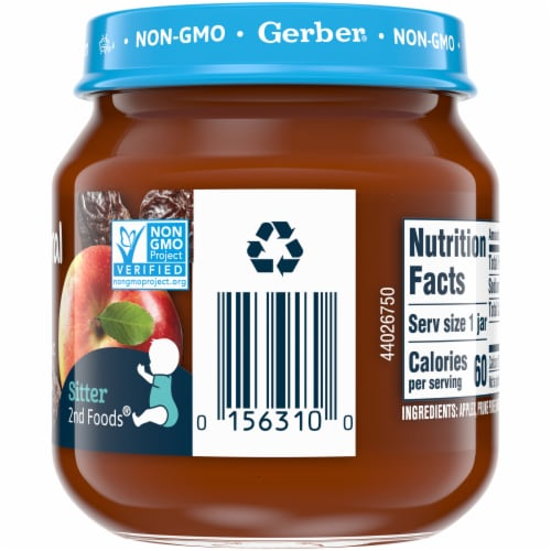 Gerber 2nd Foods Natural Apple Prune with Vitamin C Stage 2 Baby Food Perspective: right