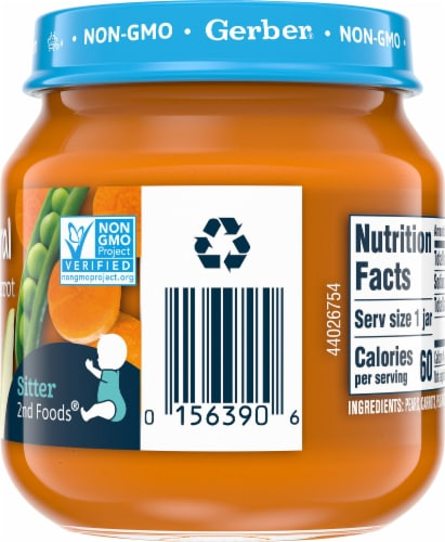 Gerber 2nd Foods Natural Pear Carrot Pea Baby Food Perspective: right