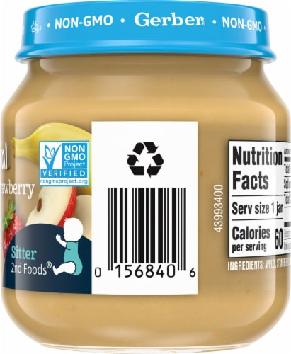 Gerber 2nd Foods Natural Apple Strawberry Banana Stage 2 Baby Food Perspective: right