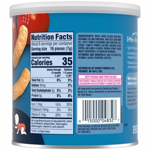 Gerber Crawler Lil' Crunchies Garden Tomato Baked Corn Baby Food Snack Perspective: right