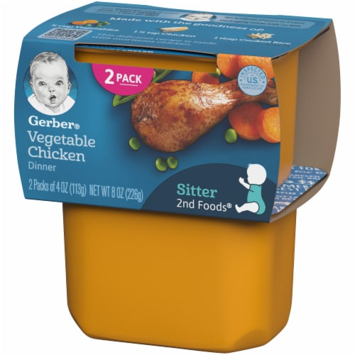 Gerber 2nd Foods Vegetable Chicken Dinner Stage 2 Baby Food Perspective: right