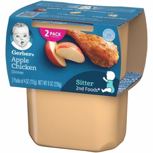 Gerber 2nd Foods Apple Chicken Dinner Stage 2 Baby Food Perspective: right
